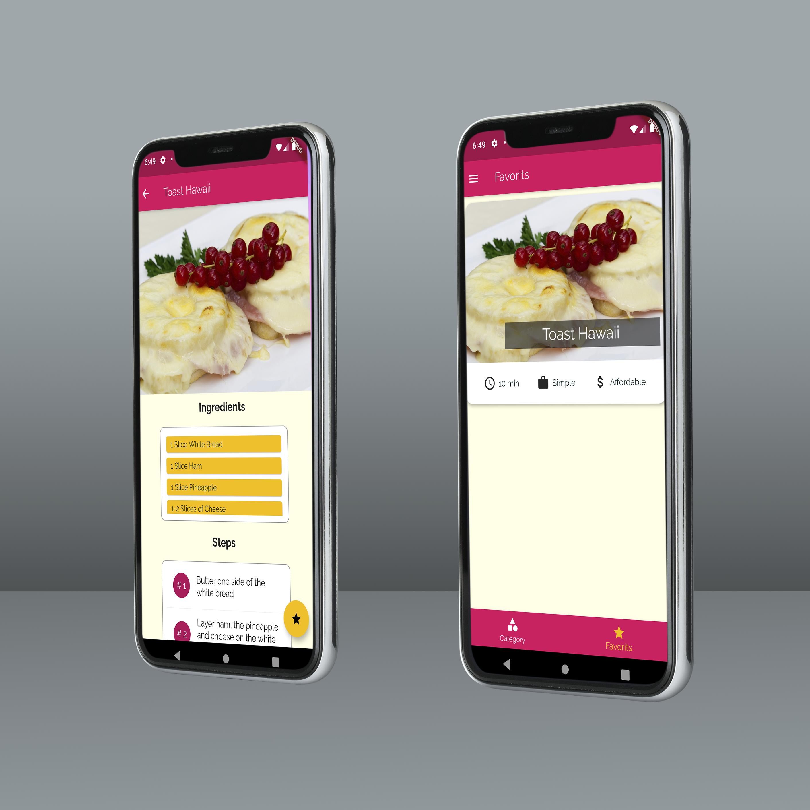 تطبيق موبايل لوصفات طبخ - صفحة المفضلات-6DTec