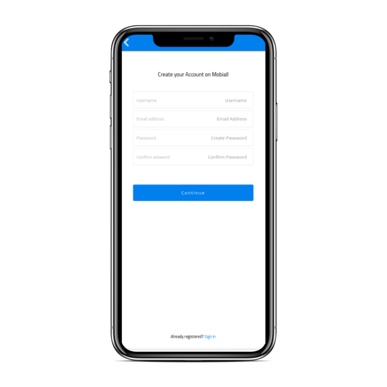 تطبيق موبايل لمتجر إلكتروني متعدد الاستخدامات إنشاء حساب